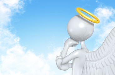 The Original 3D Angel Character Illustration In Thought