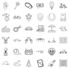 Tale icons set, outline style
