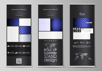 Roll up banner stands, flat design templates, business concept, corporate vertical vector flyers, flag layouts. Shiny fabric, rippled texture, white and blue silk, colorful vintage style background.