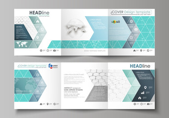 Set of business templates for tri fold square design brochures. Leaflet cover, abstract vector layout. Chemistry pattern, hexagonal molecule structure on blue. Medicine, science and technology concept