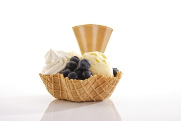 Vanilla ice cream, blueberries, whipped cream and a fan-shaped wafer in a wafer bowl