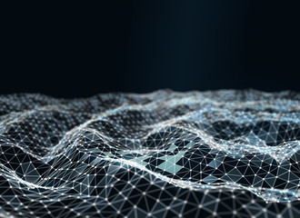Abstract futuristic low poly technology background, geometry triangles with connected dots and lines. Virtual 3D illustration of network structure.