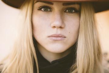 closeup of young woman