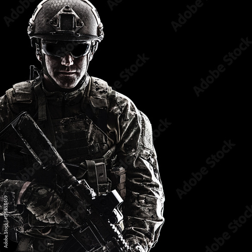 """Studio Contour Backlight Shot Of Special Forces Soldier"