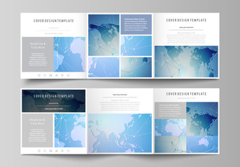 The abstract minimalistic vector illustration of the editable layout. Two creative covers design templates for square brochure. World map on blue, geometric technology design, polygonal texture.
