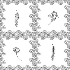 seamless pattern with contoured flowers and leaves,  background
