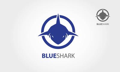Frontal head of shark Vector logo illustration
