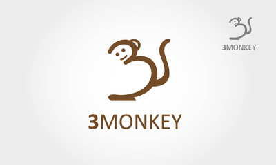 Number three or a monkey logo template. Vector logo illustration.