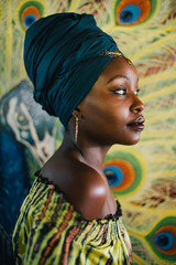 Beautiful african hippie profile in front of peacock painting background
