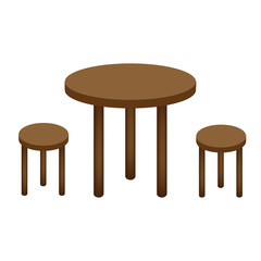 Table and chairs in the cafe. Classic interior in bar restaurant cafe. Vector illustration.