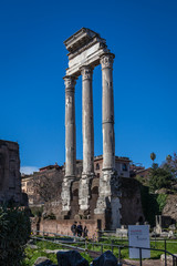 remains of Temple of Castor and Pollux at Roman Forum in Rome