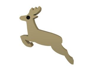 springender Hirsch im Holzfiguren-Stil