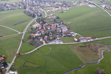 Typical village, aerial view, Oberallgaeu, Bavaria, Germany, Europe
