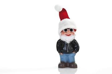 Garden gnome wearing Santa hat