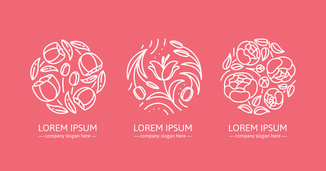 A set of logos for flower shop, organic cosmetics and wedding boutique. Unique design for your business. Vector illustration in modern style