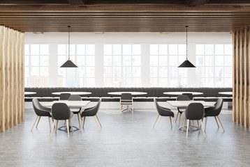 White and wooden loft cafe