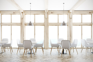 White cafe interior, loft windows