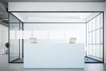 White reception near a conference room, glass