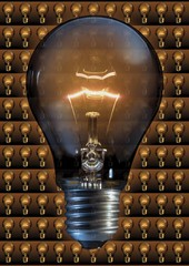 Glowing lightbulb, Composing