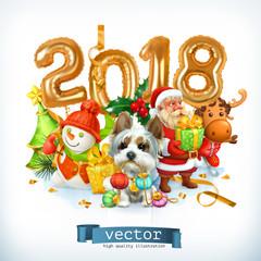 New Year, dog vector illustration