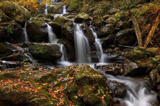 A popular waterfall weaves its way through Shenandoah National Park