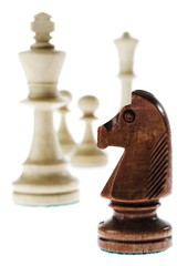 Chess pieces - knight, king, pawns, queen