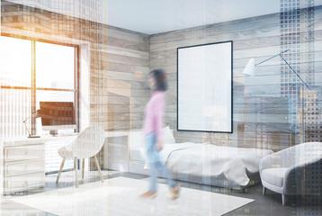 Wooden bedroom, computer and poster, corner, girl