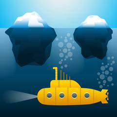 submarine under water. Icebergs. Cartoon style. Bright colors. Vector Image.
