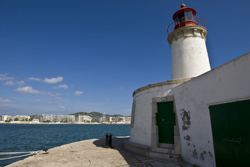 Lighthouse at the harbour of Eivissa, Ibiza, Balearen, Spanien