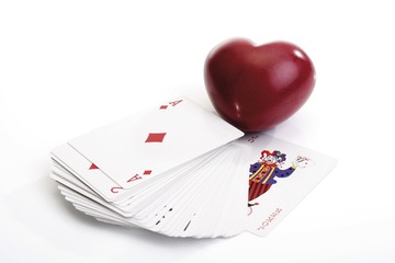 Heart and playing cards