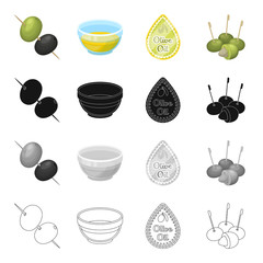 Olives, berry, fruit and other web icon in cartoon style.Industry, ingredients, butter icons in set collection.
