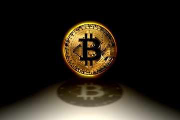 Bitcoin gold logo coin, the worldwide cryptocurrency and digital payment system technology, 3D illustration