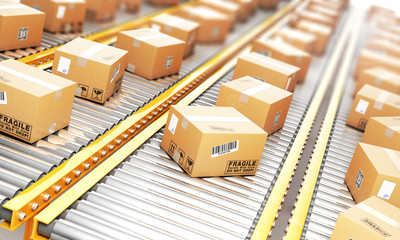 Delivery concept. Cardboard boxes on a conveyor line. 3d illustration