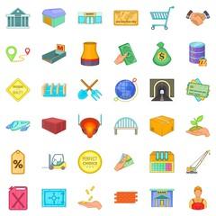Economy icons set, cartoon style