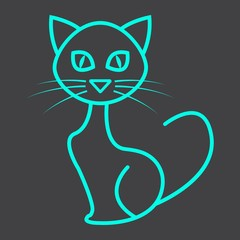 Cat line icon, halloween and scary, animal sign