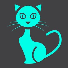 Cat glyph icon, halloween and scary, animal sign