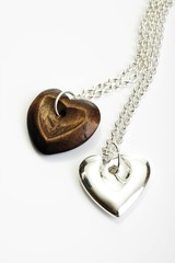 Pendants, hearts, silver and wood