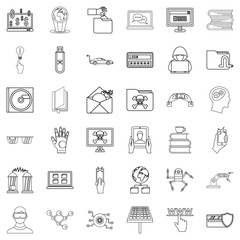 Elearning icons set, outline style