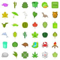 Heart icons set, cartoon style
