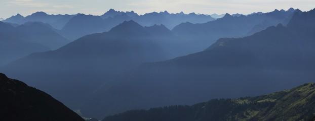 Lechtal Alps blanketed in morning mist, Holzgau, Tirol, Austria, Europe