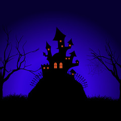 Fototapete - Halloween spooky castle background