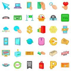 Shopping icons set, cartoon style