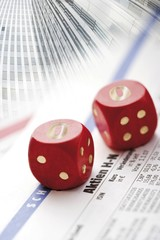 Dice with 0-lettering, stock market crash, stock price, symbolic picture