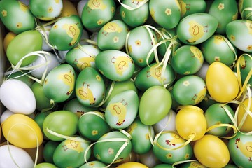 Easter decoration, easter eggs, full frame
