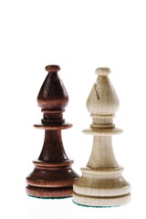Opponents: two bishop chess pieces