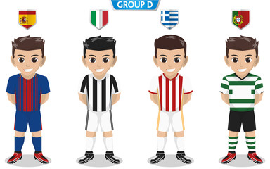 Vector Character of Football / Soccer Team for European Championship Group D