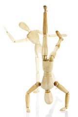 Jointed wooden mannequins performing exercises