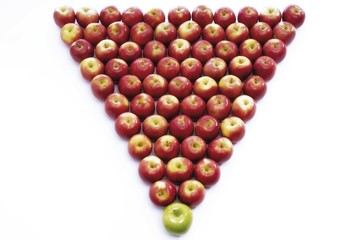 Apples forming a triangle