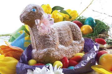 Sponge cake in the shape of an Easter lamb