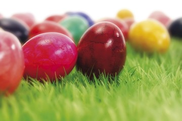 Coloured Easter eggs in the grass